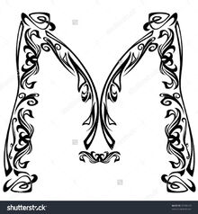 Stock-vector-art-nouveau-style-font-letter-m-black-and-white-fine-vector-outline-92336419
