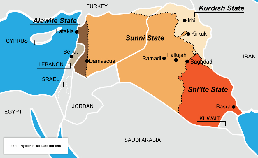 map of proposed iraq split