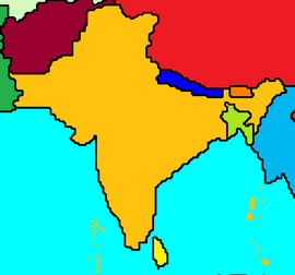 Map of India and surrounding countries