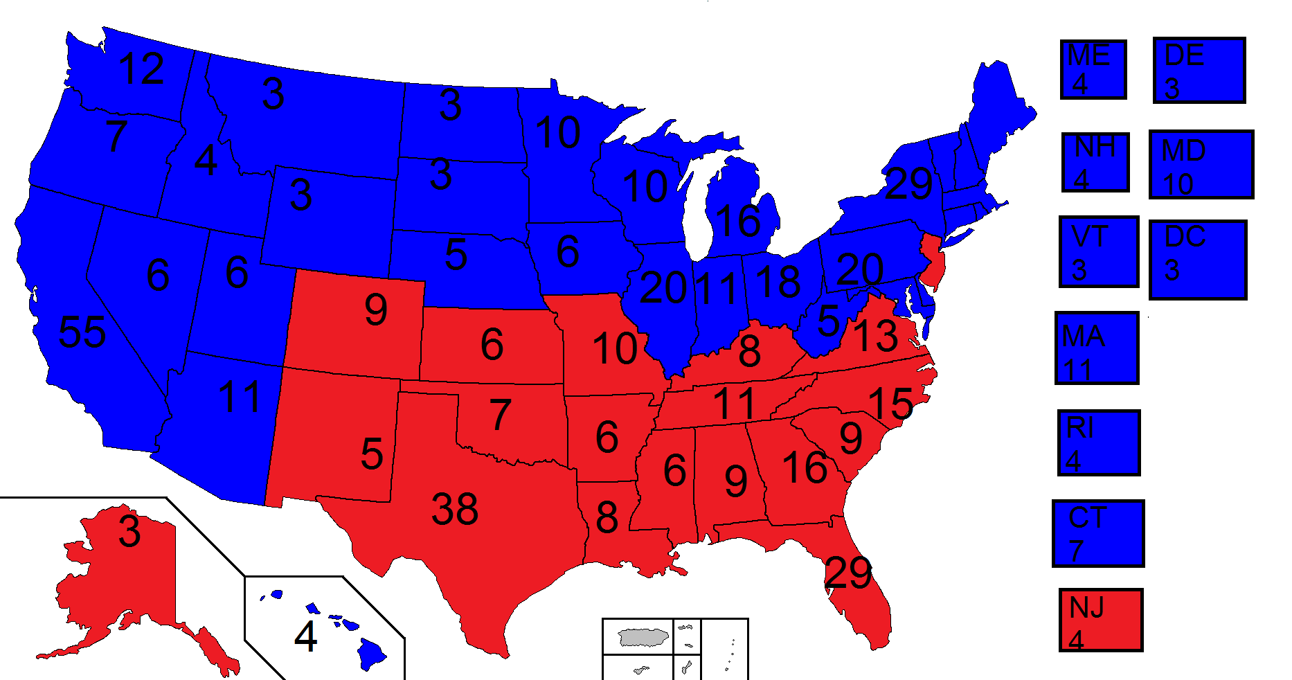 US Presidential Election Nubsworld Future FANDOM - Map of us without electoral college 2016