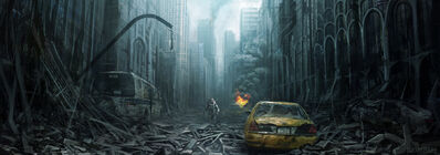 1800x632 3297 The war later City 2d post apocalyptic environment city ruins picture image digital art