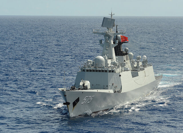 File:People's Liberation Army (Navy) frigate PLA(N) Yueyang (FF 575) steams in formation with 42 other ships and submarines during Rim of the Pacific (RIMPAC) Exercise 2014.jpg