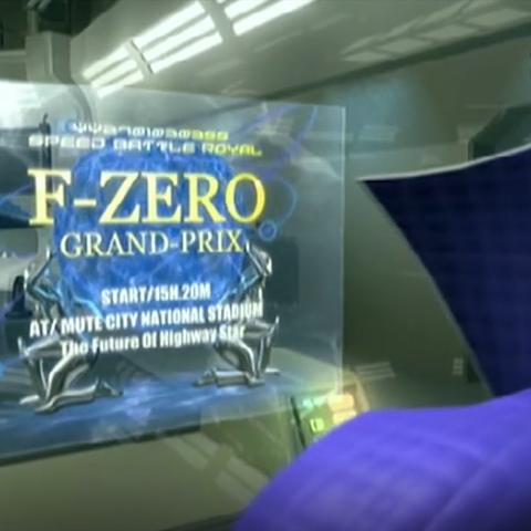 The promotional invitation of the F-Zero Grand Prix on Falcon's small-side Vid Screen.
