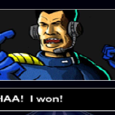 John Tanaka's victory screen from <i>F-Zero X</i>.
