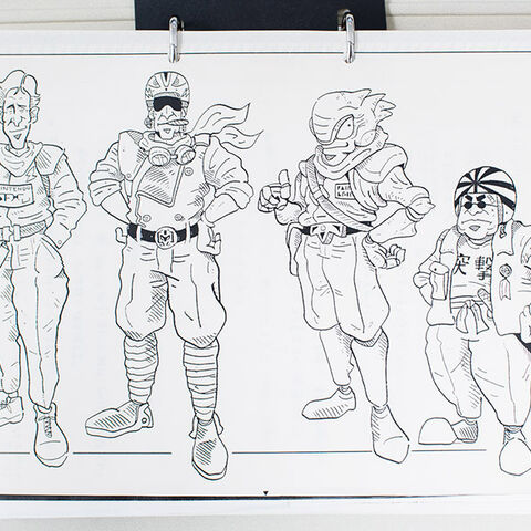 Concept art of Captain Falcon, Dr. Stewart, Pico, and Samurai Goroh from <i><a href=