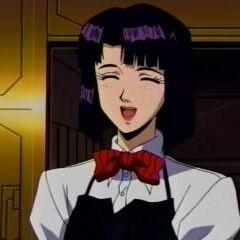 Haruka as waitress in Falcon House