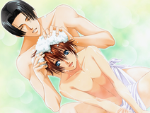 Koji washing Keita's hair