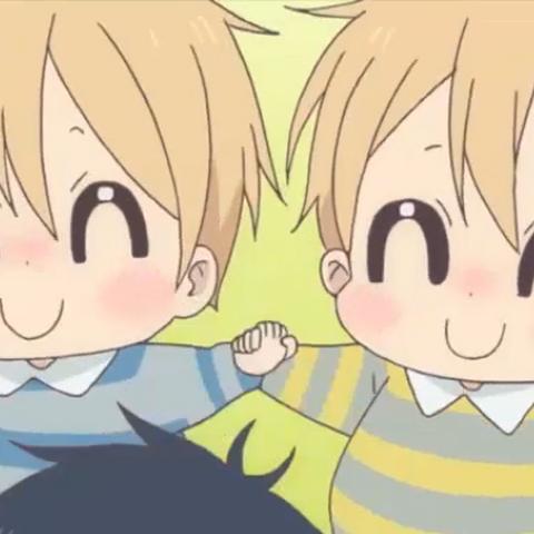 A rare moment when both twins are happy.