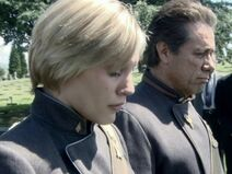 Adama and Starbuck at Zak's funeral