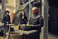 Galavant A New Season BTS Mallory Jansen and Vinnie Jones 2