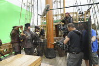 Galavant A New Season BTS Hugh Bonneville, Martin Collins