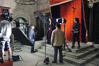 Galavant A New Season BTS Mallory Jansen and John Fortenberry