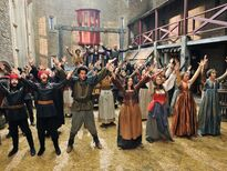 Galavant A New Season dancers with Luke Youngblood, Mallory Janson and Vinnie Jones