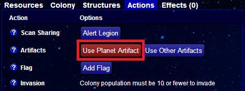 Use planet artifact enemy