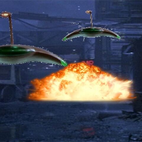 Two Martian Warships in Hadley's Hope During the Battle of Acheron.