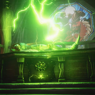 Dan being revived by Zarok's magic.