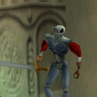 Sword in hand.