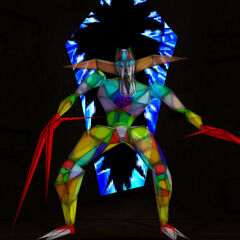 The Stained Glass Demon breaks out of the glass.
