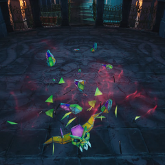The Demon shattered to shards.