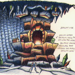 Concept art of the Dragon's lair.