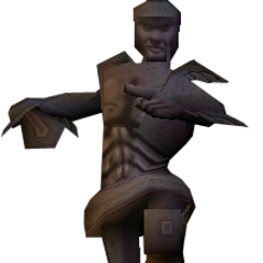 Woden's statue in a <i>MediEvil</i> prototype.
