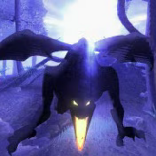 The flying Demon flies directly at the screen.