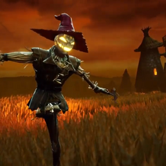 A scarecrow in Scarecrow Fields' opening cutscene (remake)