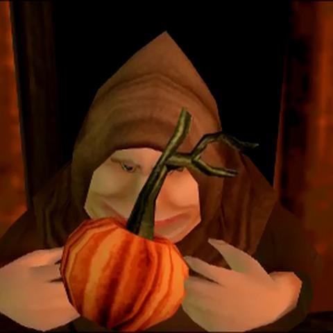 Farmer holding pumpkin key in cutscene.