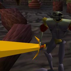 Dan wielding the sword while enchanted.