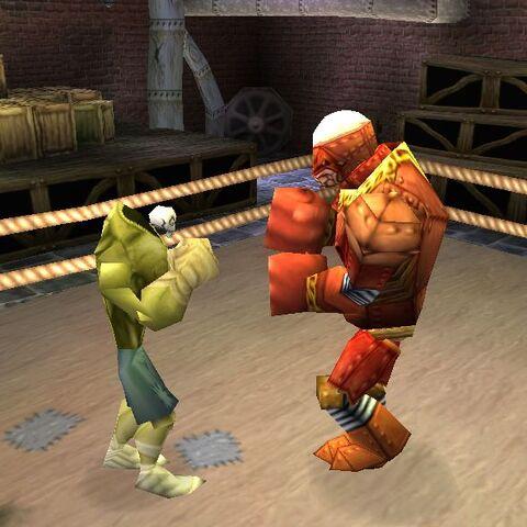 Fighting the Iron Slugger.