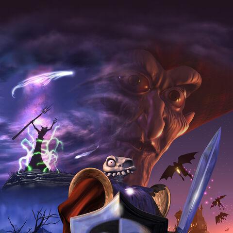 Render of Zarok, Daniel and the Shadow Demons.