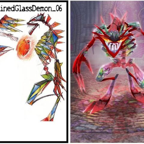Concept art of the Stained Glass Demon by Mitch Phillips.