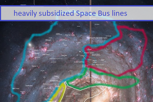 Heavily subsidized Space Bus lines