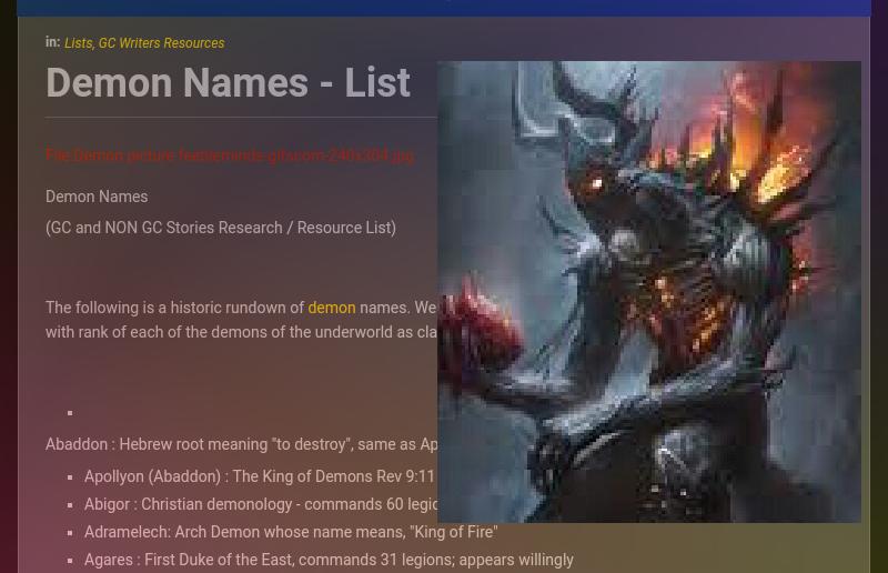 Demon Names - List | Galnet Wiki | FANDOM powered by Wikia