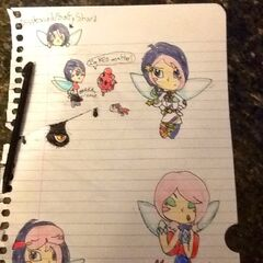 Various drawings of Shard, along with three of her outfits: Class Craze, Pledge Days, and Player's Break.)