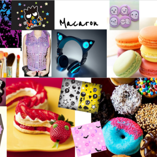 Macaron aesthetic collage.