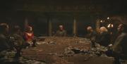 Stannis et ses conseillers dans la Chambre de la Table Peinte