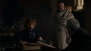 Sam présentant le livre d'Ebrose à Tyrion