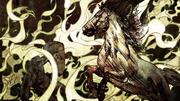 Le feu brûle un cheval et un chevalier