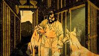 Le fondateur de la maison Clegane et ses chiens