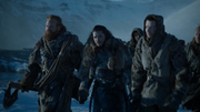 Tormund, Jon et Gendry discutent