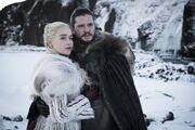 Jon et Daenerys regardant une cascade