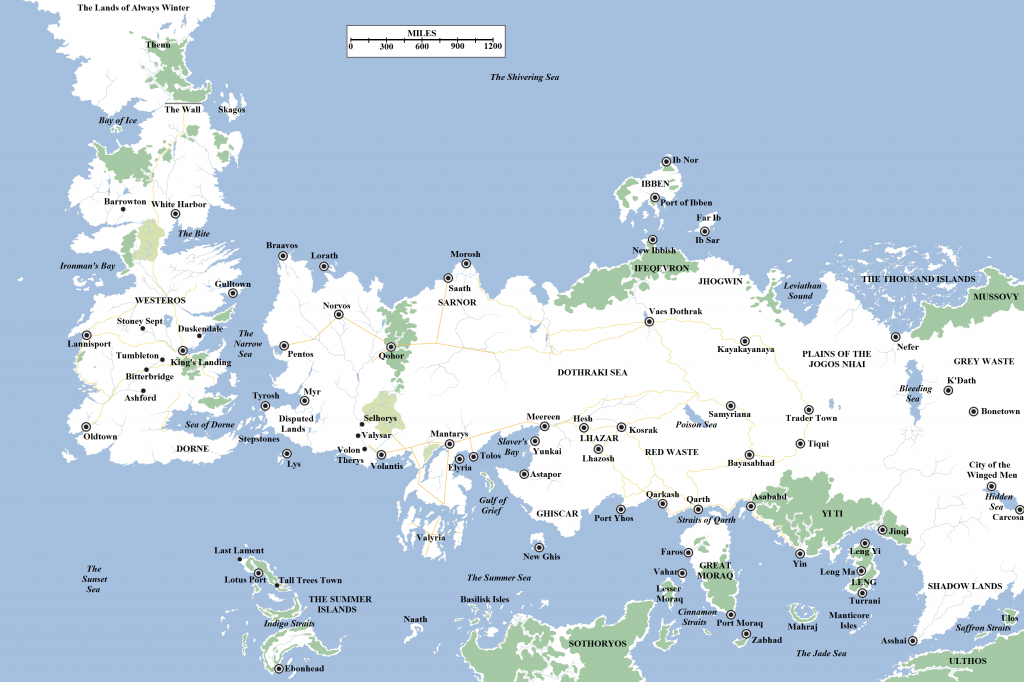 Game of Thrones World Map and Cities