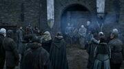 Bran annonce la reddition de Winterfell devant les villageois