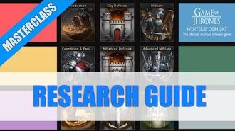 Research Guide and Tierlist - Masterclass - Game of Thrones Winter is Coming