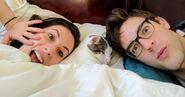 MatPat, Steph, and Skip in bed