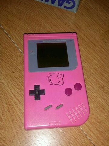 File:Original Game Boy Pink with Kirby