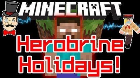 Minecraft HEROBRINE HOLIDAY Sighting ! Christmas Santa Wars at Log Cabin !