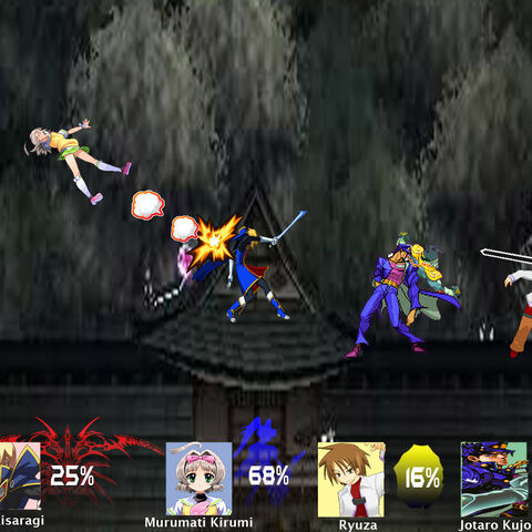 A battle between Jin Kisaragi, Murumati Kirumi, Ryuza, and Jotaro Kujo.