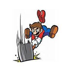 Mario using a hammer